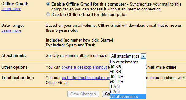 Offline Gmail Settings